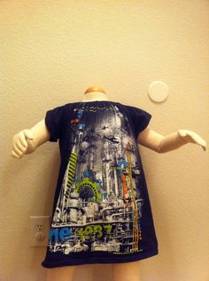 Easy Peasy Peasant Dress from an Adult Tee from The TipToe Fairy #sewingtutorial #upcycletutorial #upcycletshirt