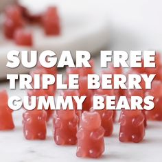 Sugar Free Triple Berry Gummy Bears Move over, Haribo! These homemade triple berry Keto gummy bears are a super healthy sugar free treat. The whole family will love these fruity gummies! Low carb and Paleo. Sugar Free Sweets, Sugar Free Candy, Sugar Free Recipes, Candy Recipes, Baby Food Recipes, Healthy Candy, Keto Candy, Healthy Sugar, Healthy Snacks