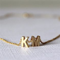 Tiny gold initial necklace gold letter