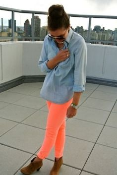 This is a really cute outfit! The navy blue does a good job of accenting the neon orange skinny jeans:) We have neon skinny jeans coming in next week at Darlene's Boutique www.darlenesonline.com