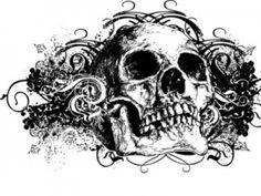 Grunge Skull Floral Illustration - Peel and Stick Wall Decal by Wallmonkeys Skull Tattoo Design, Skull Tattoos, Black Tattoos, Sleeve Tattoos, Tatoos, Tattoo Designs, Tattoo Sleeves, Black And White Graffiti, Black Skulls