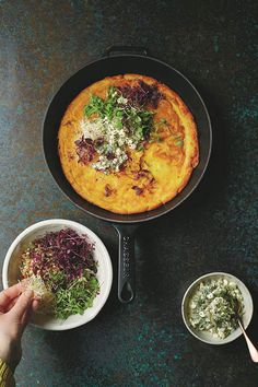 Carrot and chickpea pancake with lemon-spiked dressing from A Modern Way to Cook by Anna Jones.