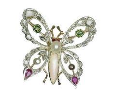 On Sale 1930s Butterfly Brooch, Gemstone Brooch, Butterfly Jewelry, Diamond Brooch, Insect Brooch, Unique Brooch, Silver Brooch, Gold ref150