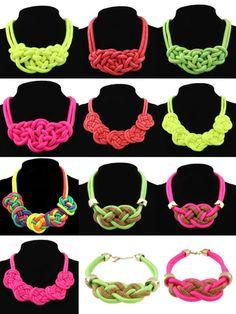 модные флуоресцентный цвет ожерелье воротник ручной работы хлопковая веревка трикотажа сплетенный панк