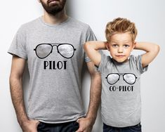 Pilot and co-pilot Fathers and kids grey t-shirts set. Father's day gift by MumKnowsBabyGrows on Etsy