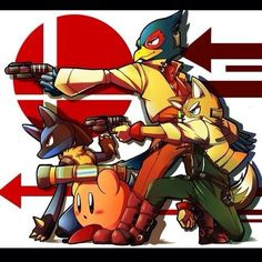 Fox McCloud, Falco Lombardi, Lucario, and Kirby
