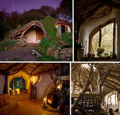 Hobbit hole built with mud, tree trunks, lime plaster, straw and junk yard finds such as windows and wiring.