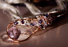 Long Purple Branch Earrings  Big Wire Wrapped by YLOjewelry