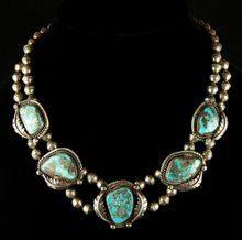Squash Blossom Choker Necklace with Morenci Turquoise