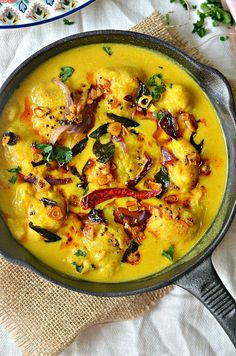 "India's fav fall recipe! Gram flour dumplings in spiced yogurt sauce- ""Punjabi Kadhi Pakora"" Have a bowlful of hot Kadhi with rice to feel the warmth settling in."