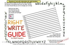 Left handed writing guide mat Good info at this site.