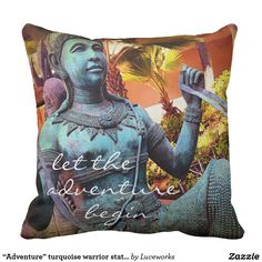 """Adventure"" turquoise warrior statue photo pillow"