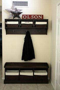 Entry way bench. Would love this for the kids!