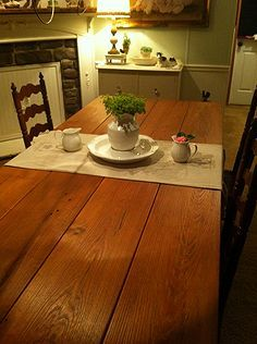 making a farmhouse table, painted furniture, repurposing upcycling, woodworking projects, Reclaimed Heart Pine top stained with Minwax Early American Stain
