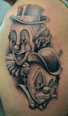 Tattoo funny and sad Clown  - http://tattootodesign.com/tattoo-funny-and-sad-clown/  |  #Tattoo, #Tattooed, #Tattoos