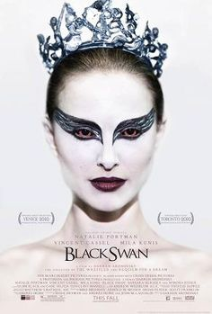Black swan  The poster for the film shows Natalie Portman with white facial makeup, black-winged eye liner around bloodshot red eyes, and a jagged crystal tiara.