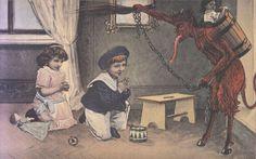 Krampus and Children with Toys Praying Repro Postcard Anti Santa, Yule Goat, Evil Children, Coast To Coast Am, Bad Santa, Santa's Little Helper, Bad Kids, Saint Nicholas, Dark Fantasy Art
