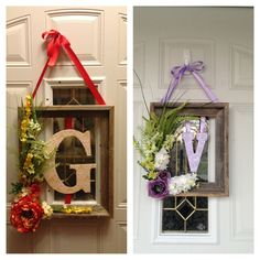 Cute front door wreath decor. Use empty picture frame. Glue flowers on. Mod podge any paper to your letter. Good for any season. Jv