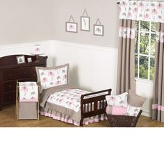 Pink Elephant 5-Piece #Toddler #Bedding Set by JoJo Designs TinyTotties.com