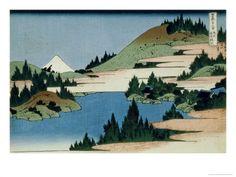 36 Views of Mount Fuji, no. 34: The Lake of Hakone in the Sagami Province. Hokusai.