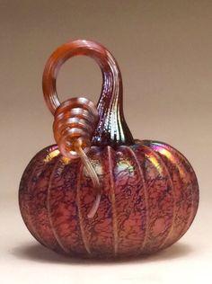 Jack Pine Hand Blown Glass Pumpkin Small Pink by jackpinestudios