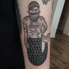 A tattooed merman tattoo by Susanne Konig (IG—suflanda). #dotwork #finelined #illustrative #merman #Suflanda