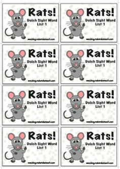 Fun printable sight word game for kids. Rats!!
