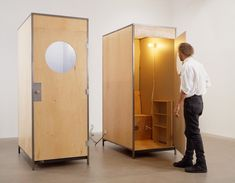 Visit the post for more. Folding Furniture, Wood Furniture, Mid-century Interior, Interior Architecture, Small Space Design, Small Spaces, Parasitic Architecture, Tall Cabinet Storage, Locker Storage