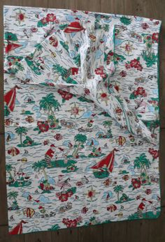 "Tropical Christmas Tablecloth 79"" x 58"" Cotton Santa Golfing Sailing Grilling  #Unbranded"