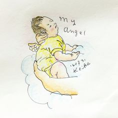 【Around midnight】an angel💕#baby #drawing #illustration #cloud #2months #赤ちゃん #2ヶ月 #新米ママ #angel #天使
