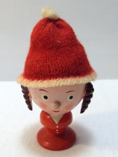 Vintage Wooden Painted Lady Egg Cup with Wool Hat - West Germany