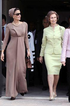 La Reina Doña Sofía junto a la jequesa de Qatar.