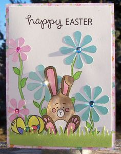 https://flic.kr/p/SN3ns9 | Happy Easter | Made with the March, 2017, Simon Says Stamp Card Kit.  Patterned paper by Echo Park.  Additions to kit:  Grass border punch by Fiskars; gems by Me and My Big Ideas; Egg and sentiment stamps from Lawn Fawn.  Entered in the SSS flickr challenge: SSSflickrchallenge#67