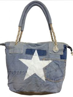 Great bit of upcycling given an edge with screen printed star