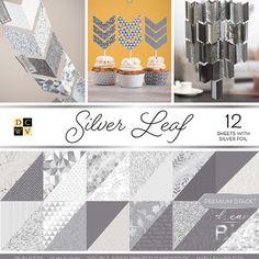 "American Crafts Card Stock 12"" X12"" Silver Leaf Premium Printed Cardstock Stack"