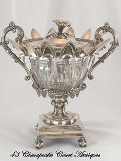Antique French Sterling Silver Confiturier Crystal Bowl & Twelve Spoons  $3,495.00 2014