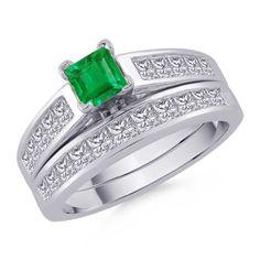 Square Emerald and Princess Diamond Ring