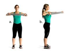 Push and pull chest press: Start by holding a medium size towel tight at chest level, hands shoulder width apart and elbows bent at a 90-degree angle out to the sides (a). Slowly, simultaneously push with your left arm and pull with your right arm, keeping the towel taut as if you're trying to pull it apart (b). Pause for two seconds, then slowly push and pull to switch hands. Continue this see-saw motion for 12 to 15 reps each side. Perform 2 to 3 sets.