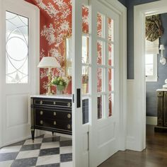 Alexandra rae - entry foyer - sliding French Doors - Gracie wallpaper makes it!
