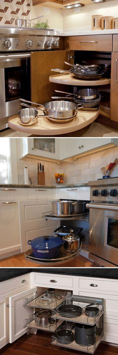 Another version of Lazy Susan, these spinout or pullout shelves rotate out of the cabinet for easy access: