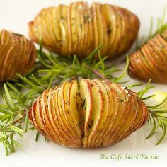 Swedish Hasselback Baked Potatoes: Hasselback Potatoes w/ Garlic, Lemon & Rosemary  Ingredients:  4 medium russet potatoes 2 tablespoons extra virgin olive oil 2 tablespoons butter 2 cloves