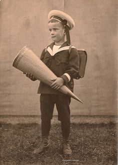 First grader with Zuckertüten (cone of treats to celebrate the first day of school) Germany