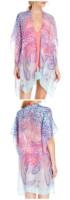 Sheer, lightweight paisley printed kimono. A great cover up for the beach or pool.