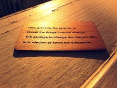 Beautiful #Woodenbetonit card with the #serenityprayer on it! Not only could you be carrying around some extra good luck, but a reminder of how you want to live your life!  www.pozible.com/woodenbetonit Courage To Change, Serenity Prayer, Live Your Life, Bamboo Cutting Board, Carry On, Compliments, Wisdom, Sayings, Cards
