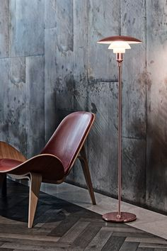 Modern PH 3½-2½ copper floor lamp designed by Poul Henningsen for Louis Poulsen.