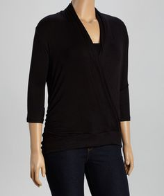 Love this Black Surplice Drape Top - Plus on #zulily! #zulilyfinds