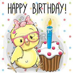 caricaturas de animales: tarjeta de felicitación pollo lindo de la historieta con la torta