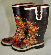 DON ED HARDY Rubber Rain Boots Size 9 Dragon Women's Very Good Condition!!!