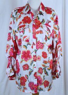Jones New York Plus Size 1X Bright Floral Blouse Long Sleeve NWT Button Front #JonesNewYork #Blouse #Career