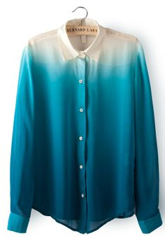 Blue Gradients Lapel Long Sleeve Chiffon Blouse GBP£16.46